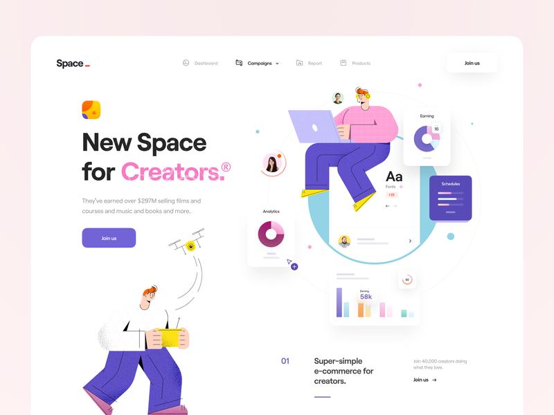 Space® user hero header landing page app web app web product campaign report creators chart character illustrator illustration minimal clean ux design ui design ux ui