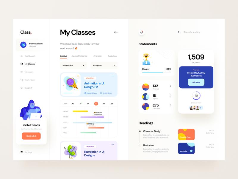 Class. card tutorial sidebar character illustration website web app web app teacher student analytics timeline skill learning dashboard ux design ui design ux ui