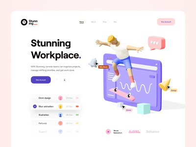 Stunning_ landing page design tool designers collaboration realtime minimal clean typography timeline card list web app web illustration 3d illustration 3d ux design ui design ux ui