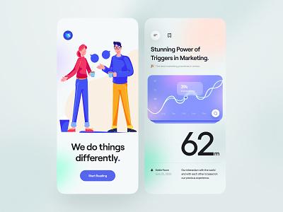 Blurr. Series - Mobile App gradient trending minimal clean typography cards blur mobile app app mobile character illustrator illustration news blog card ux design ui design ux ui