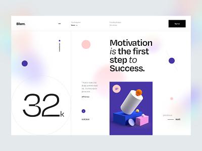 Blurr. Series - 32k Followers ui8 dribbble followers typography news blog gradient blur 3d design 3d object 3d minimal clean app web app web ux design ui design ux ui