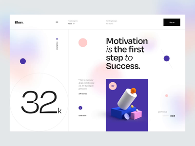 Blurr. Series - Animation minimal clean app website web ui8 news ui kit 3d illustration 3d typography interaction animated animation gradient blur ux design ui design ux ui