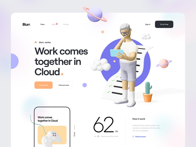 Blurr. Series - Hero Header mobile plan working cloud typography minimal clean web app web character 3d character illustration 3d illustration 3d icon 3d hero header ux design ui design ux ui