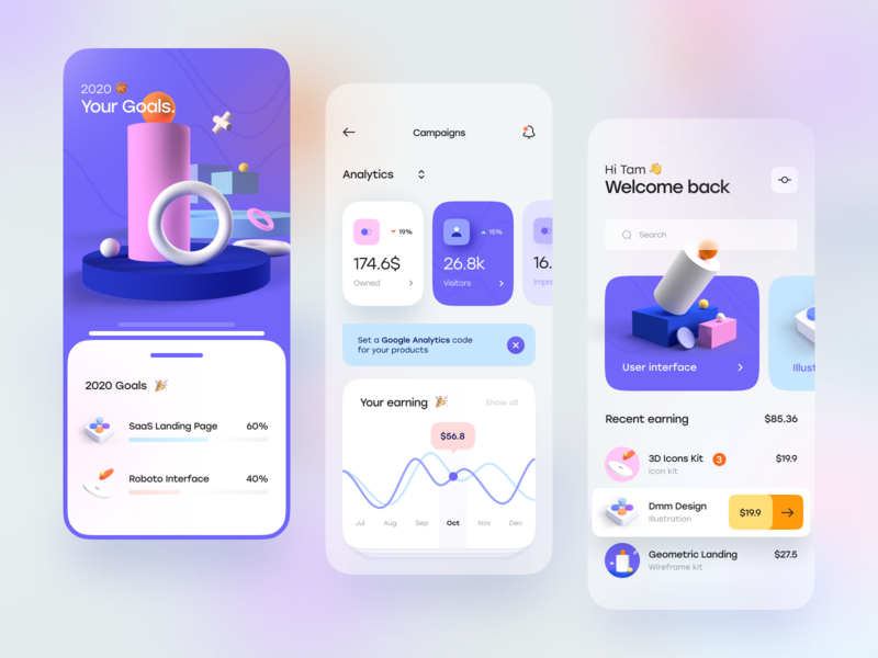 Blurr Series - Creator Dashboard dashboard card blur gradient gradient bar progress chart clean 3d illustration illustration 3d simple minimal blur app mobile ux design ui design ux ui