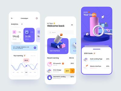 Blurr Series - Creator Dashboard dashboard card blur gradient gradient bar progress chart clean 3d illustration illustration 3d simple minimal blur app mobile ux design ui design ux ui