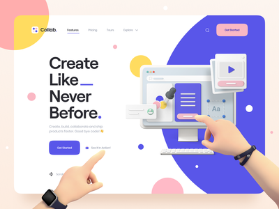 Collab. design collaboration minimal clean typography 3d design 3d icon 3d assets 3d illustration 3d hero header landing page ui8 web app web saas ux design ui design ux ui
