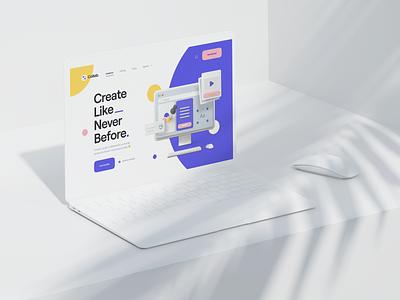 Collab. design collaboration minimal clean typography 3d design 3d icon 3d assets 3d illustration 3d hero header landing page ui8 web app web saas ux design ui design ux ui