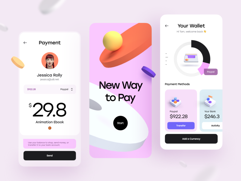 iPay - Mobile App Concept cards ux design ui design onboarding card bank payment pay chart minimal clean 3d illustration 3d illustration concept app mobile app mobile ux ui
