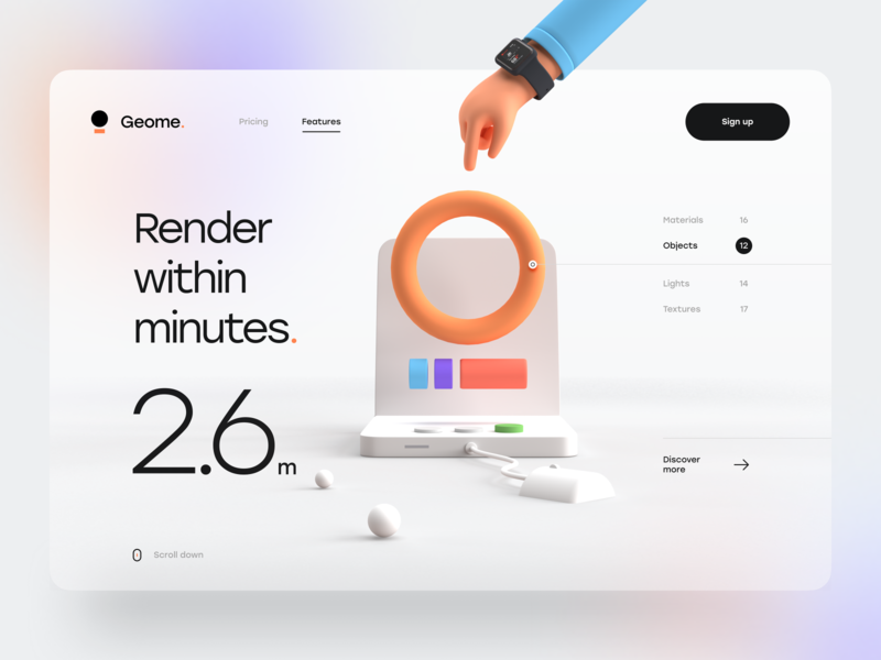 Geome. simple clean render 3d design effect blur gradient hero header typography minimal mouse computer hand 3d 3d illustration 3d landing page ux design ui design ux ui