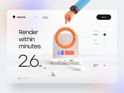 Geome. simple clean render 3d design effect blur gradient hero header typography minimal mouse computer hand 3d 3d illustration 3d landing page ux design ui design ux ui