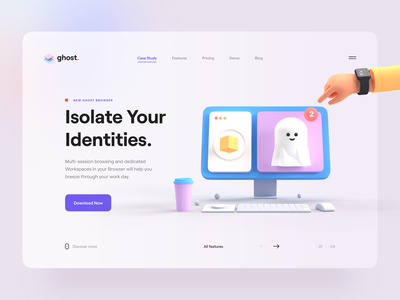 Ghost 👻 desktop coffee hero header typography clean render browser ghost 3d design illustraion 3d illustration 3d character 3d app minimal web ux design ui design ux ui