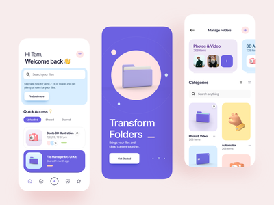 Atlas - File Manager iOS UI Kit minimal clean card 3d icon icon figma sketch 3d design 3d illustration 3d application file management ios ui kit ux design ui design mobile app app ux ui