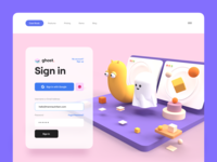 Ghost 👻– Sign In worm website render form ghost monster 3d character 3d illustration 3d minimal clean app web app web sign in login ux design ui design ux ui