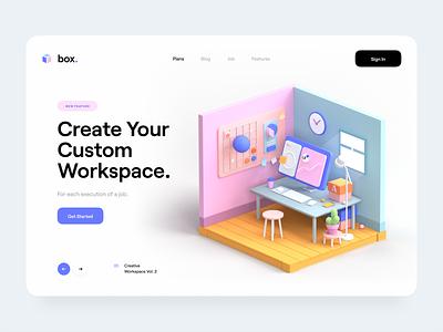 Box. hero header typography color 3d object designer creative board workspace 3d design 3d illustration 3d desktop box app website web ux design ui design ux ui