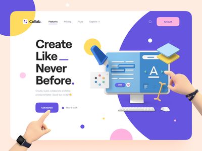 Collab. — Landing Page Kit product design saas illustration 3d hand hand 3d design 3d illustration 3d 3d landing page website web landing page hero header clean minimal typography ux ui ux design ui design