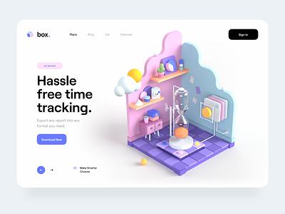 Box. – ⏳Time Tracking typography landing page web app app hero header 3d lab lab timeline box workspace website web ui design ux design ui ux illustration 3d illustration 3d design 3d