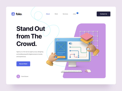 Folio: Agency Portfolio Kit interaction typography minimal clean hero header website web landing page agency portfolio 3d design 3d illustration 3d animated loading animation ux design ui design ux ui