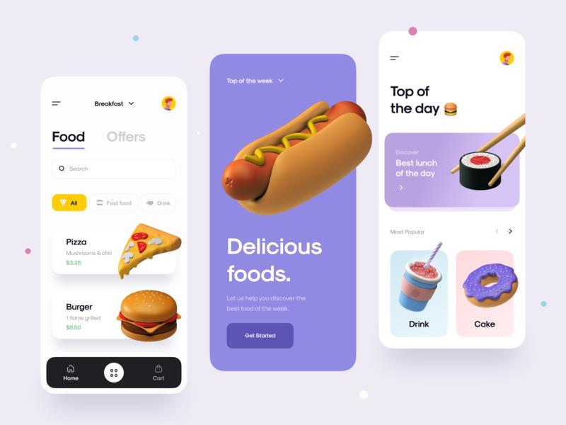 Food App 🍔🍱🍖🍻 3d illustration menu delivery app food app mobile app mobile app card sushi burger food food icon icon 3d icon 3d design 3d ux design ui design ux ui