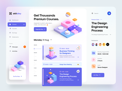 Skillalley – Dashboard UI 3d design ui kit app web app web timeline minimal clean gradient blur card isometric illustration 3d illustration 3d dashboard ux design ui design ux ui