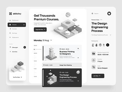 Skillalley – Dashboard UI 3d design ui kit app web app web timeline minimal clean gradient blur card isometric illustration 3d illustration 3d dashboard ux design ui design ux ui