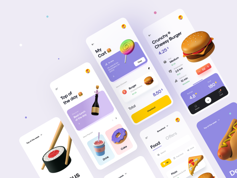 Food App 2.0 🌭🥗🍉🍭 cart delivery drink sushi burger illustration icon 3d icon 3d illustration 3d nutrition app nutrition food app food mobile app mobile ux design ui design ux ui