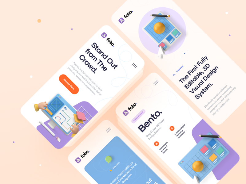 Folio Agency – Mobile Version mobile app app mobile mockup color agency landing page agency minimal clean typography code template html5 ui design kit template ui kit landing page ux design ui design ux ui