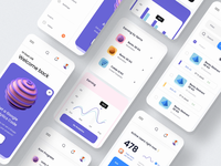 Unity Dashboard Kit – Mobile Version illustration 3d illustration 3d chart dark mobile app dark app dark theme dark mode light mode ui kit ui design kit mobile kit dashboard kit mobile dashboard mobile app mobile ux design ui design ux ui