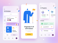 Estaro v.2 – Task Management typography onboarding progress card task manager task icon illustration mobile app app clean app minimal design minimal app blur minimal clean ux design ui design ux ui
