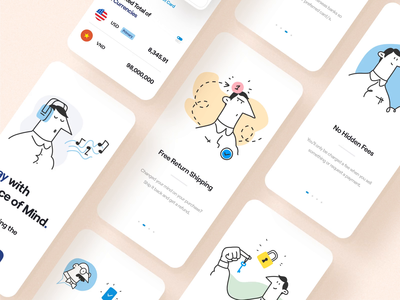Paypal Mobile App onboarding screen onboarding shipping typography product design mobile app minimal app minimal clean paypal payment app pay payment card character illustration ux design ui design ux ui