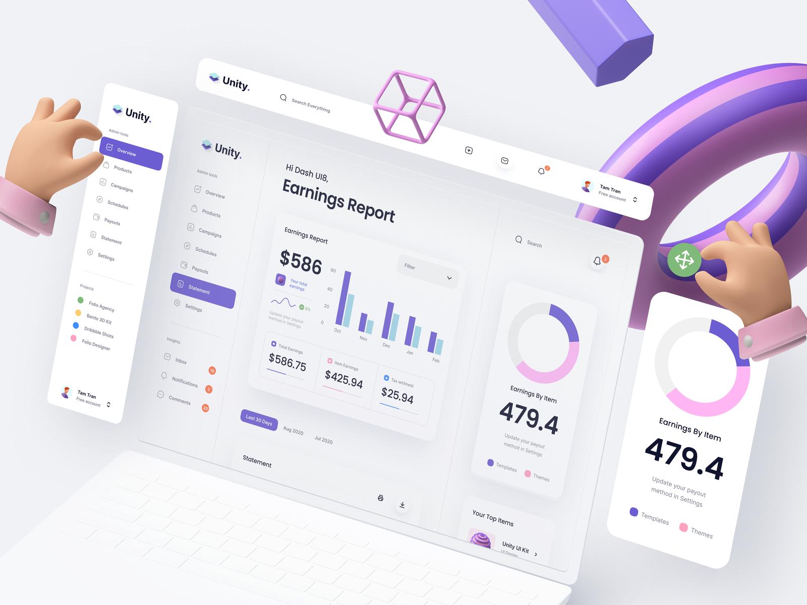 Unity Dashboard Kit – Earnings Report analytics ui kit dashboard kit typography app website mockup minimal clean dashboard chart earning 3d design 3d icon 3d hand 3d ux design ui ux ui design
