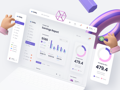 Unity Dashboard Kit – Earnings Report analytics ui kit dashboard kit typography app website mockup minimal clean dashboard chart earning 3d design 3d icon 3d hand 3d ux design ui ux ui design