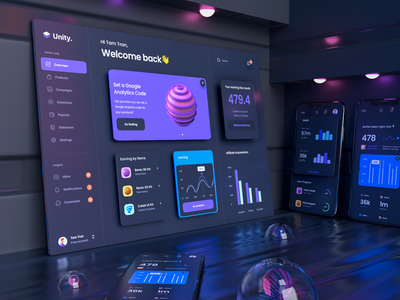 Dashboard Dark Mockup for Unity chart 3d icon dark user interface dark ui clean design 3d mockup 3d renders render phone mockup iphone screen dark mockup mockup dark mode dashboard ux design ux ui ui design