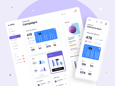 Unity Dashboard – Campaigns menu ui kit minimal card navigation navbar campaign analytics chart illustration 3d icon 3d dashboard mobile ux design ui design typography clean ux ui