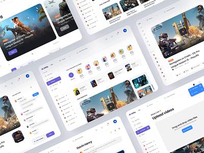 Unity Gaming 🎮Design Kit – Desktop playlist ui component typography video ui kit social platform video platform social network minimal clean dark mode card navigation bar ui kit gaming game app ux design ui design ux ui