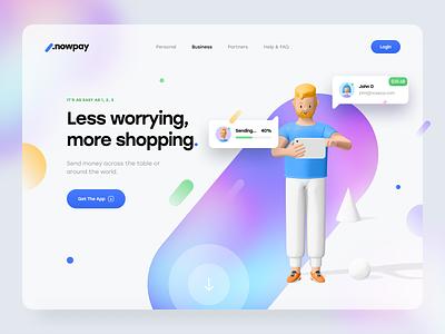 Blurr. Series – NowPay ux design ui design website minimal clean typography pay app mesh gradient blur gradient ui pattern 3d character 3d payment pay app web app web ux ui