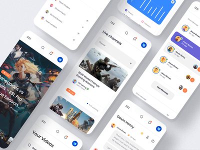 Unity Gaming 👾 – Mobile Version dashboard illustration ui kit stories chat typography navigation clean minimal dark theme social network gaming platform gaming game mobile app mobile ux design ui design ux ui