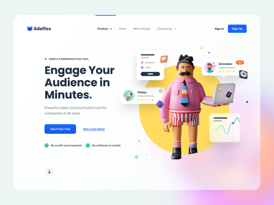 Hero Header –  🦊Adelfox character conversation chat color 4px grid layout user interface video communication video typography illustration 3d illustration 3d character 3d adelfox ux ui ux design hero header ui design