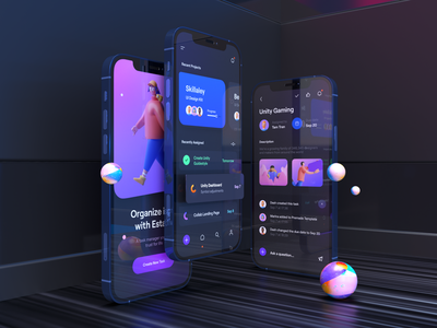 iPhone 12 - Dark Mockup for Estaro App task 3d model iphone 12 3d model 3d mockup 3d gradient color typography card ux design ui design ux ui app apple iphone mockup iphone iphone 12 mockup iphone 12