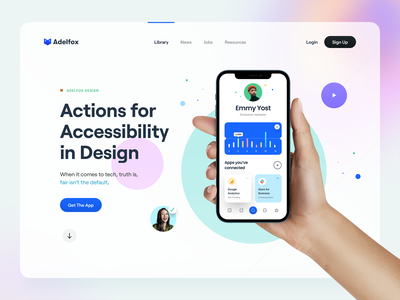 Hero Header 02 – 🦊Adelfox app mobile analytic chart communication video minimal clean website web color hand iphone iphone 12 iphone hero banner typography adelfox hero header ux ui