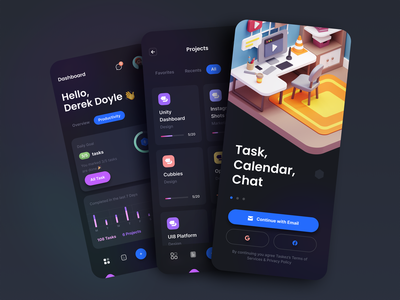 TaskEz: Productivity App iOS UI Kit dashboard chart card 3d model 3d 3d illustration illustration onboarding task management task productivity mobile app app mobile dark theme dark ux design ui design ux ui