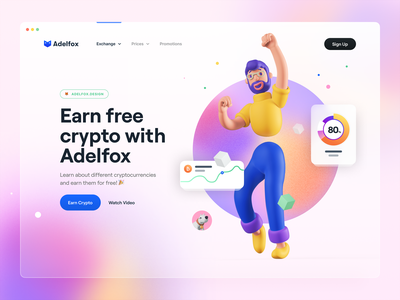 Hero Header 04 – 🦊Adelfox 2 blur gradient character 3d render illustration 3d illustration ui card chart ux design ui design ux ui typography hero header hero earn crypto cryptocurrency crypto 3d character 3d