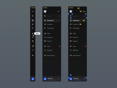Sidebar Navigation for UI8 app design app grid system menu item menu ui kit ui8 marketplace icon ux design ui design ux ui dark sidebar dark theme dark sidebar navigation navigation nav bar sidebar
