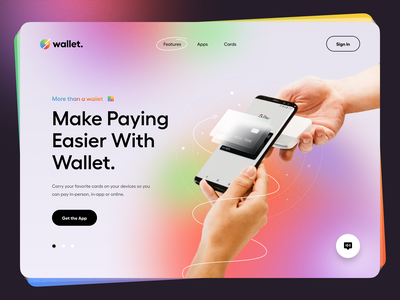 Wallet – Hero Header ui design ux ui web design website typography minimal clean web app web hero header payment app mobile app app glass credit card glass effect credit card phone payment wallet
