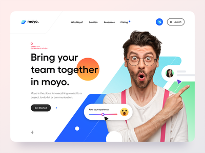 SaaS Hero Header – Moyo. web website web app app navigation productivity minimal team work typography pattern header hero landing page saas landing page saas ux design ui design clean ux ui