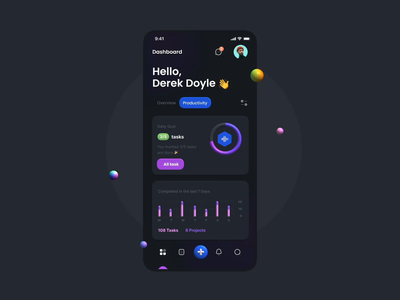 TaskEz - 3D Animation 🚀 iphone mockup analytics dashboard chart mobile app app mobile dark mode dark theme card ux design ui design illustration 3d illustration animation 3d animation 3d ux ui