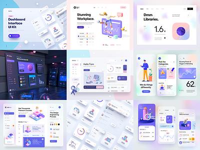 The Best Nine Of 2020 minimal clean ui illustration nav bar chart analytic dashboard ui element typography 3d illustration 3d gradient blur mobile app app web illustration animation ux design ui design