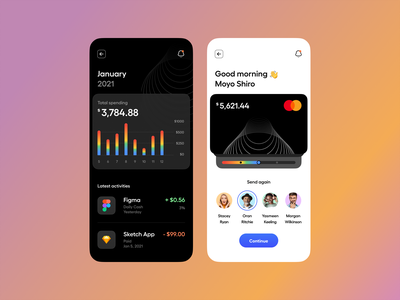 Wallet – Mobile App typography dashboard onboarding pay payment banking chart illustration minimal clean dark mode dark theme mobile app app mobile wallet ux design ui design ux ui