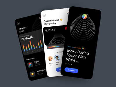 Wallet – Mobile App typography dashboard onboarding pay payment banking chart illustration minimal clean dark mode dark theme mobile app app mobile wallet ux design ui design ux ui