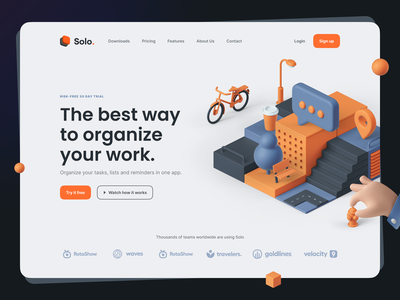 Solo: SaaS Landing Page Kit isometric productivity task hero header dark mode illustration 3d illustration 3d typography minimal clean website web saas ui kit landing page ux design ui design ux ui