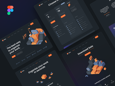 Solo: SaaS Landing Page Kit – Dark Mode typography 3d design startup testimonial 3d illustration 3d illustration gradient navigation hero header pricing table dark theme dark mode ux design ui design ui kit landing page saas ux ui